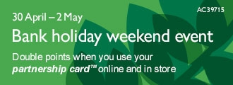 Double points when you use your partnership cardTM online and in store