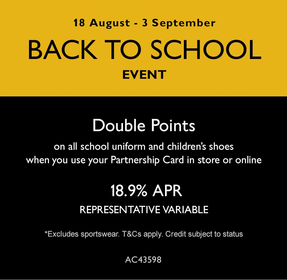 Back to school partnership card double points